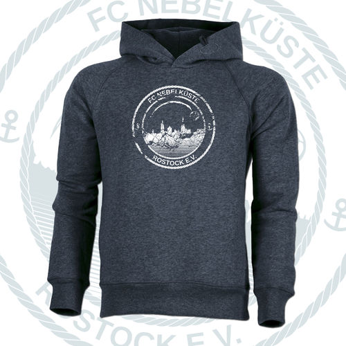 "PREMIUM-HOODIE ""NEBELKÜSTE CRUSH"" HEATHER BLUE"