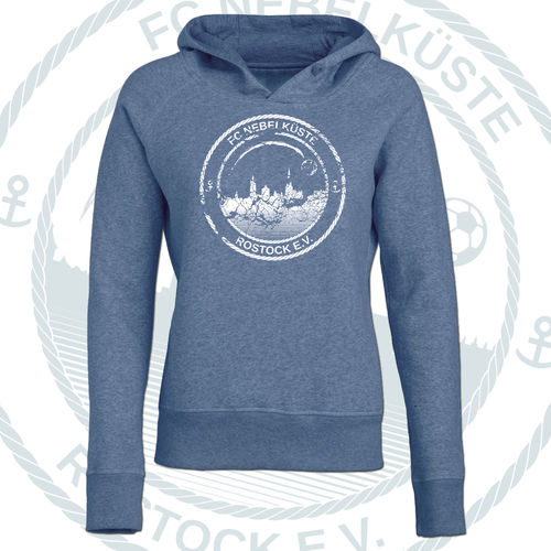 "DAMEN-PREMIUM-HOODIE ""NEBELKÜSTE CRUSH"" HEATHER BLUE"